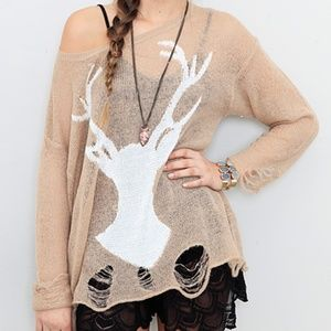 Wildfox White Label Stag Distressed Lennon Sweater